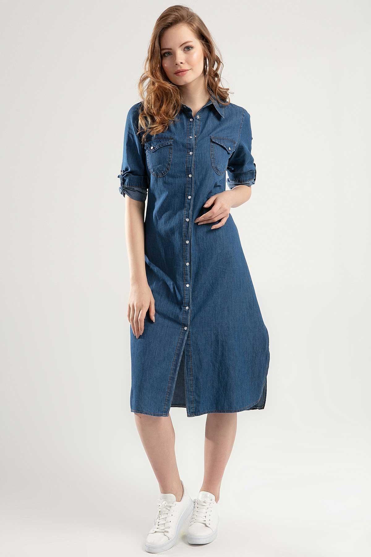 Pattaya Kadın Yırtmaçlı Uzun Kot Elbise Y20s110-5603 2
