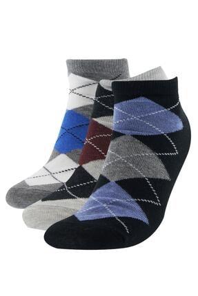 DeFacto Baklava Desenli 3'lü Kısa Çorap