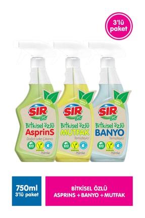 Sır Bio Bitkisel Özlü Asprins 750 ml + Mutfak 750 ml + Banyo 750 ml