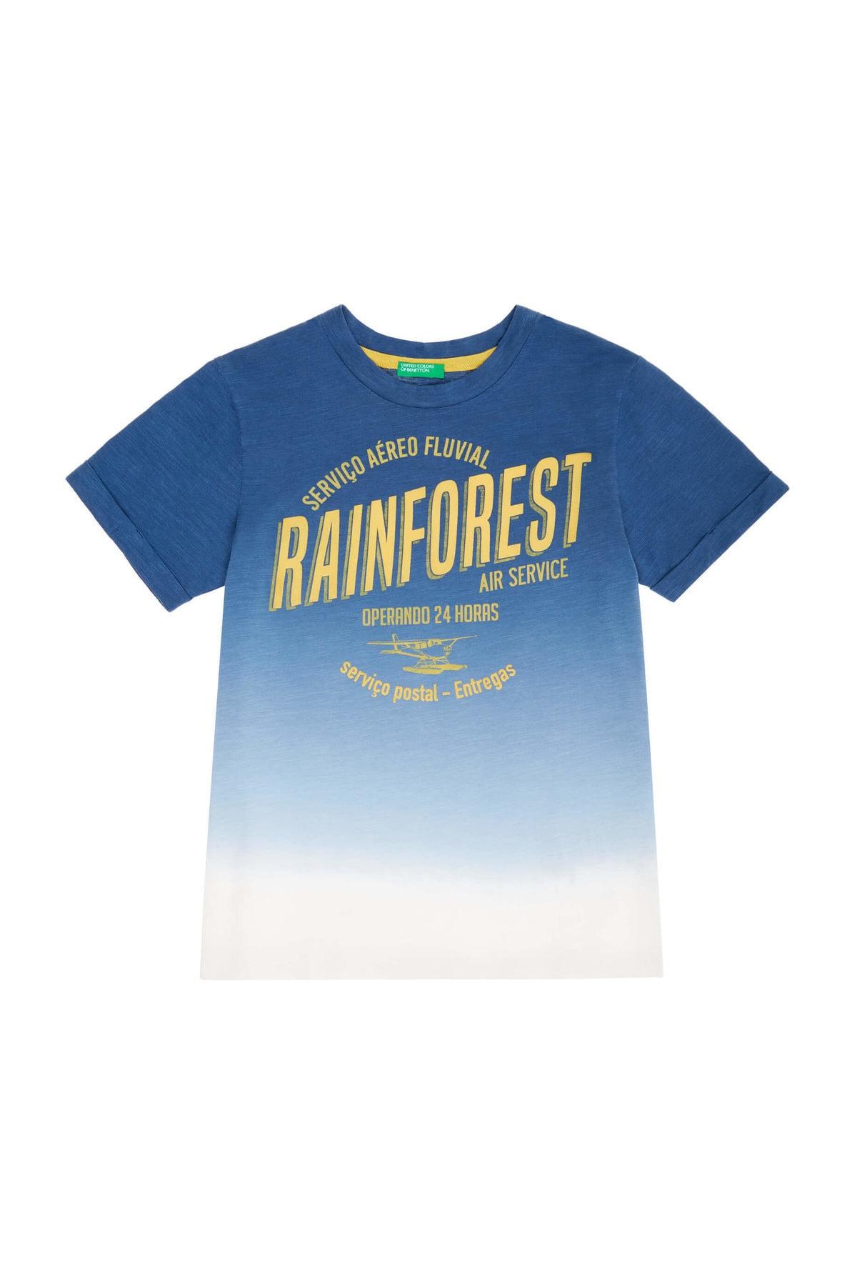 United Colors of Benetton Koyu Mavi Erkek Çocuk Rainforest Yazılı Degrade Tshirt 1