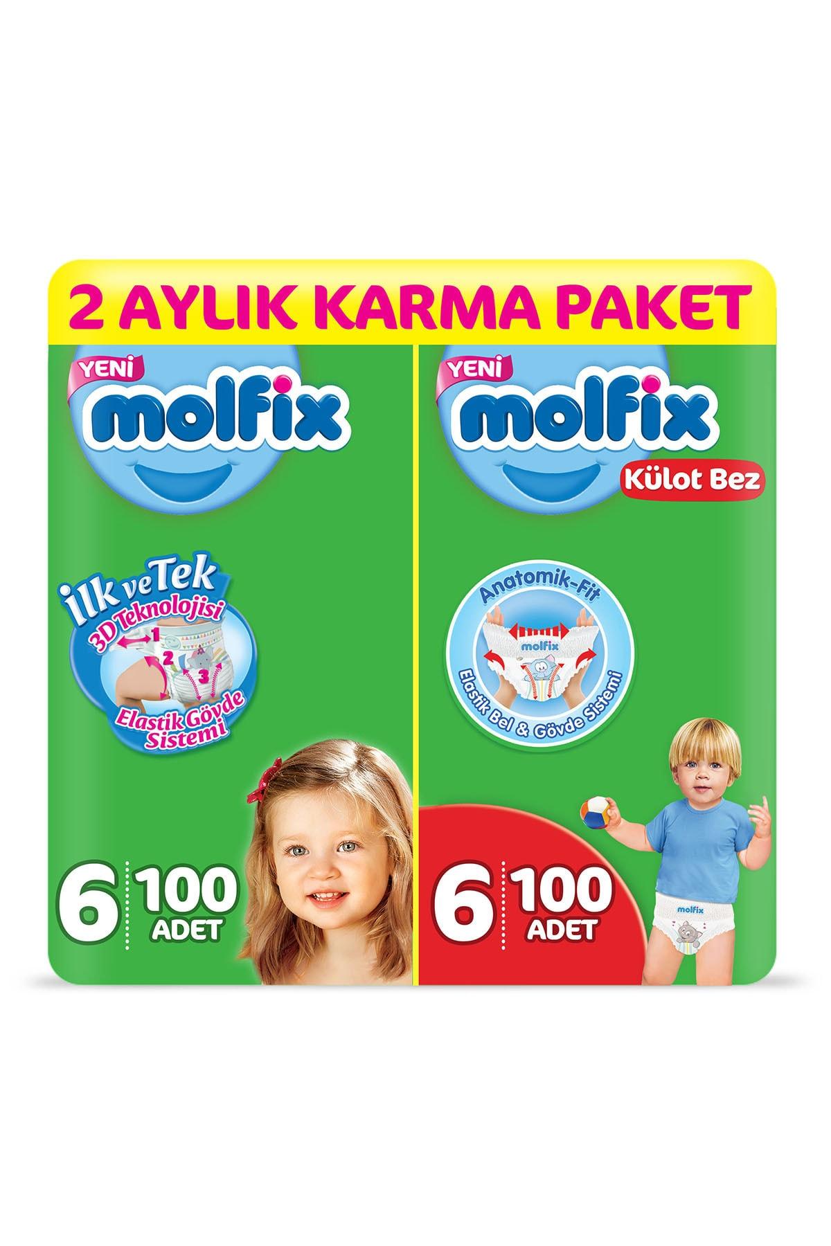 Molfix Bebek Bezi + Külot Bez 6 Beden 2 Aylık Karma Paket 200 Adet