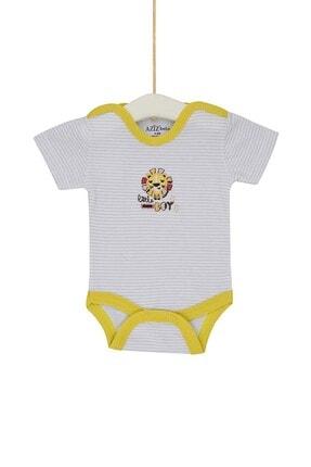 Aziz Bebe Erkek Bebek Beyaz Çıtçıtlı Body 0-12 Ay Azz001753