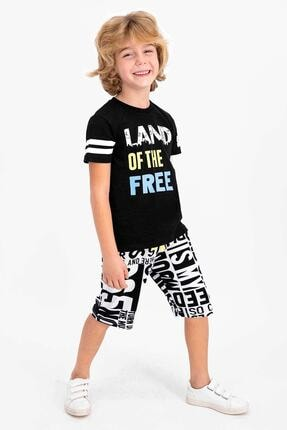 ROLY POLY Erkek Çocuk Siyah Land Of The Free Bermuda Takım