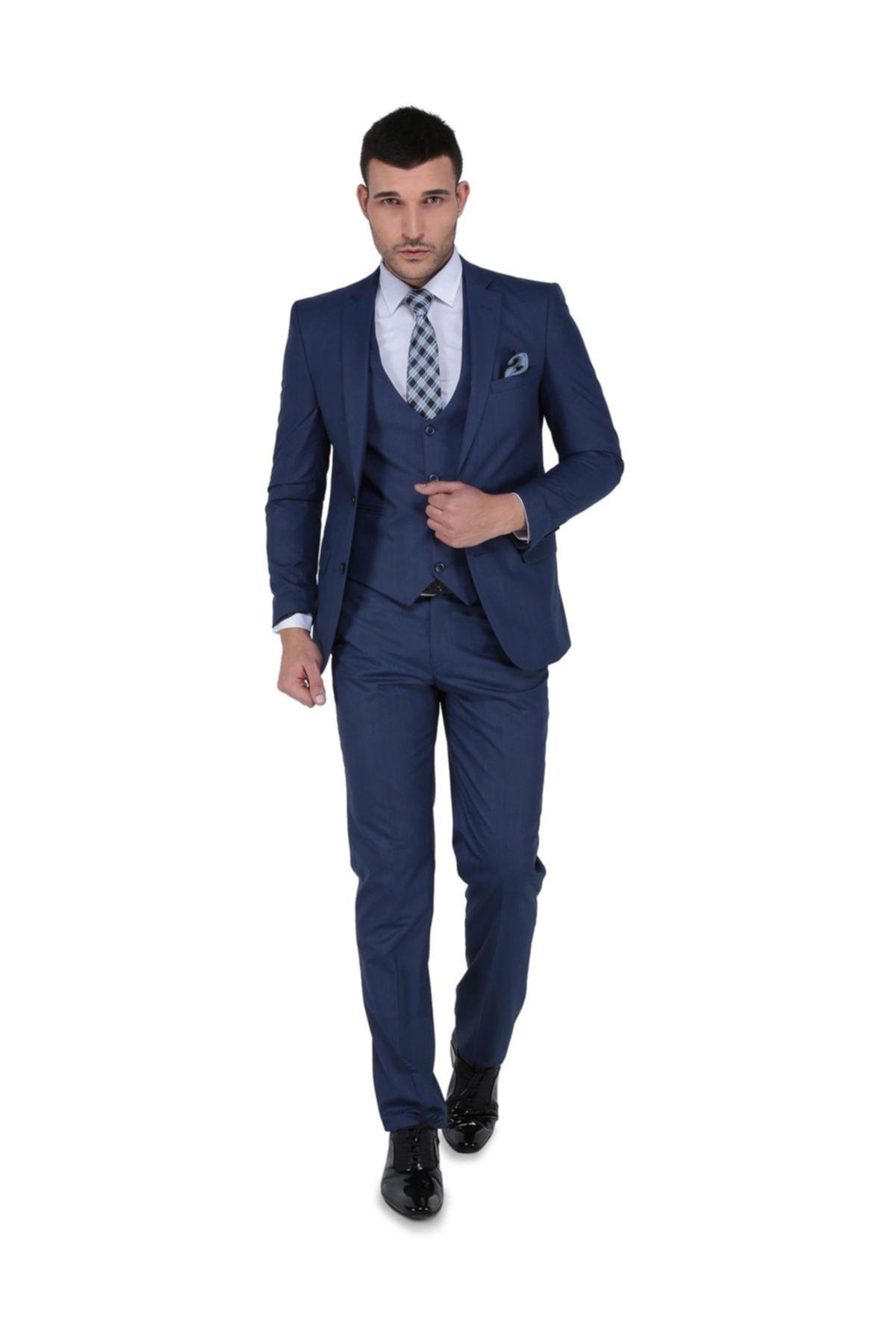 Buenza Erkek Luca Mono Yelekli Dar Kalıp Takım Elbise-3B4M0434D025 1