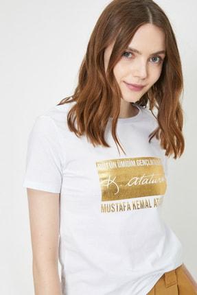 Koton Kadın Ekru Atatürk Baskili T-Shirt 0YAL18574IK