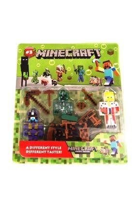 MINECRAFT 8 Parça 3 Figür Minecraft Figür Seti Atlı