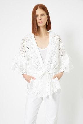 Koton Kadın Beyaz Beli Baglamali Kimono 0YAK52523UW
