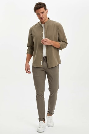 DeFacto Erkek Haki Slim Fit Dokuma Basic Jogger Pantolon M7835AZ.20SP.KH301