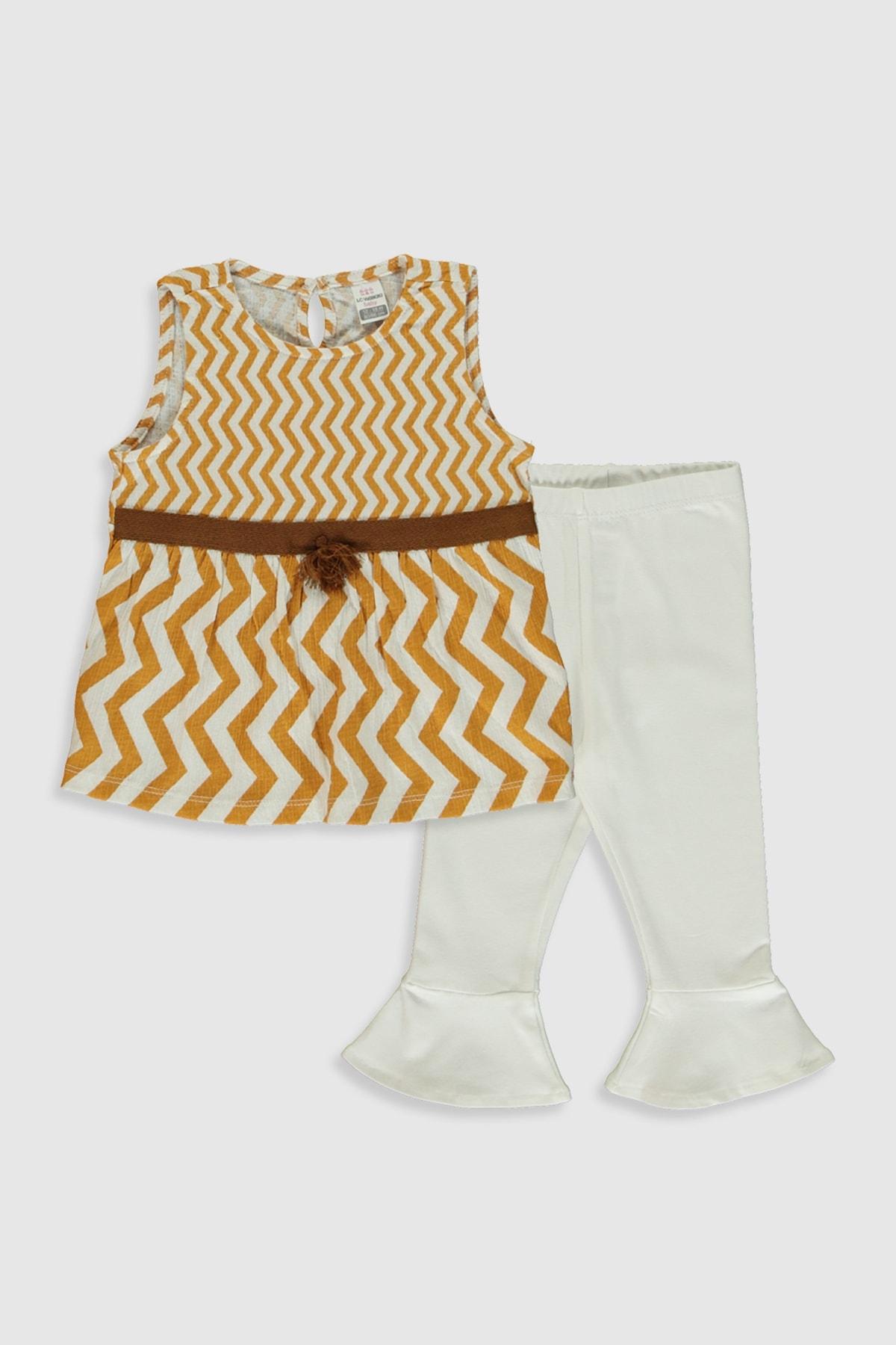 LC Waikiki Kız Bebek Ekru Baskılı Lra Bebek Takımları 1