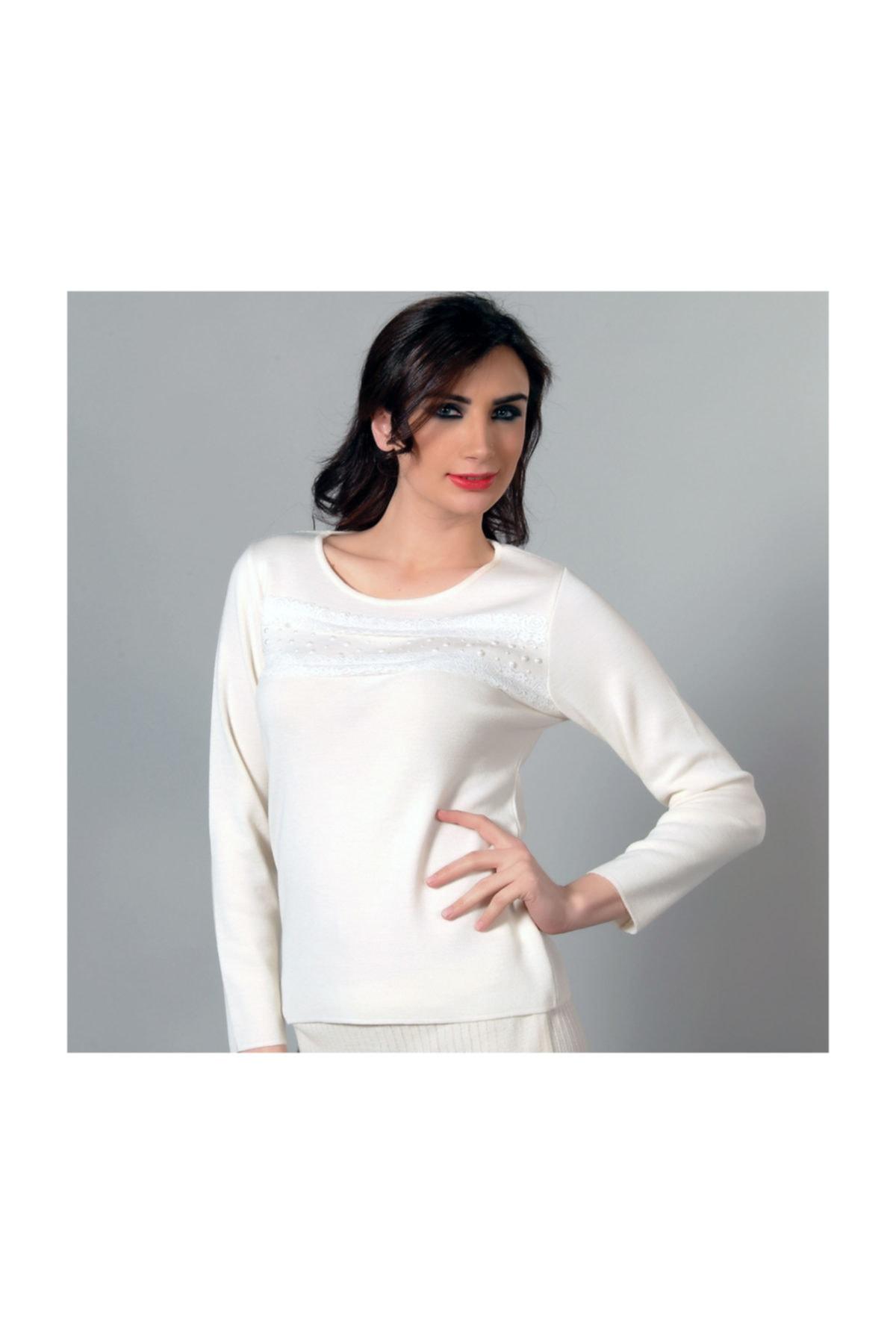 Solo Kadın Danteli Ve Taş Incili Triko Bluz 1