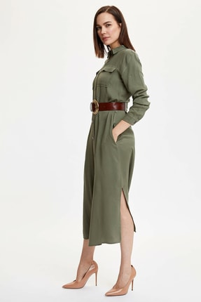 DeFacto Kadın Haki Dokuma Elbise M9356AZ.20SP.KH82