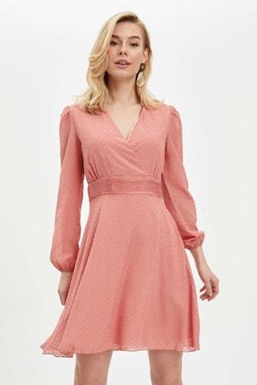 DeFacto Kadın Bordo Desenli Regular Fit Dokuma Elbise N0521AZ.20SP.BR96