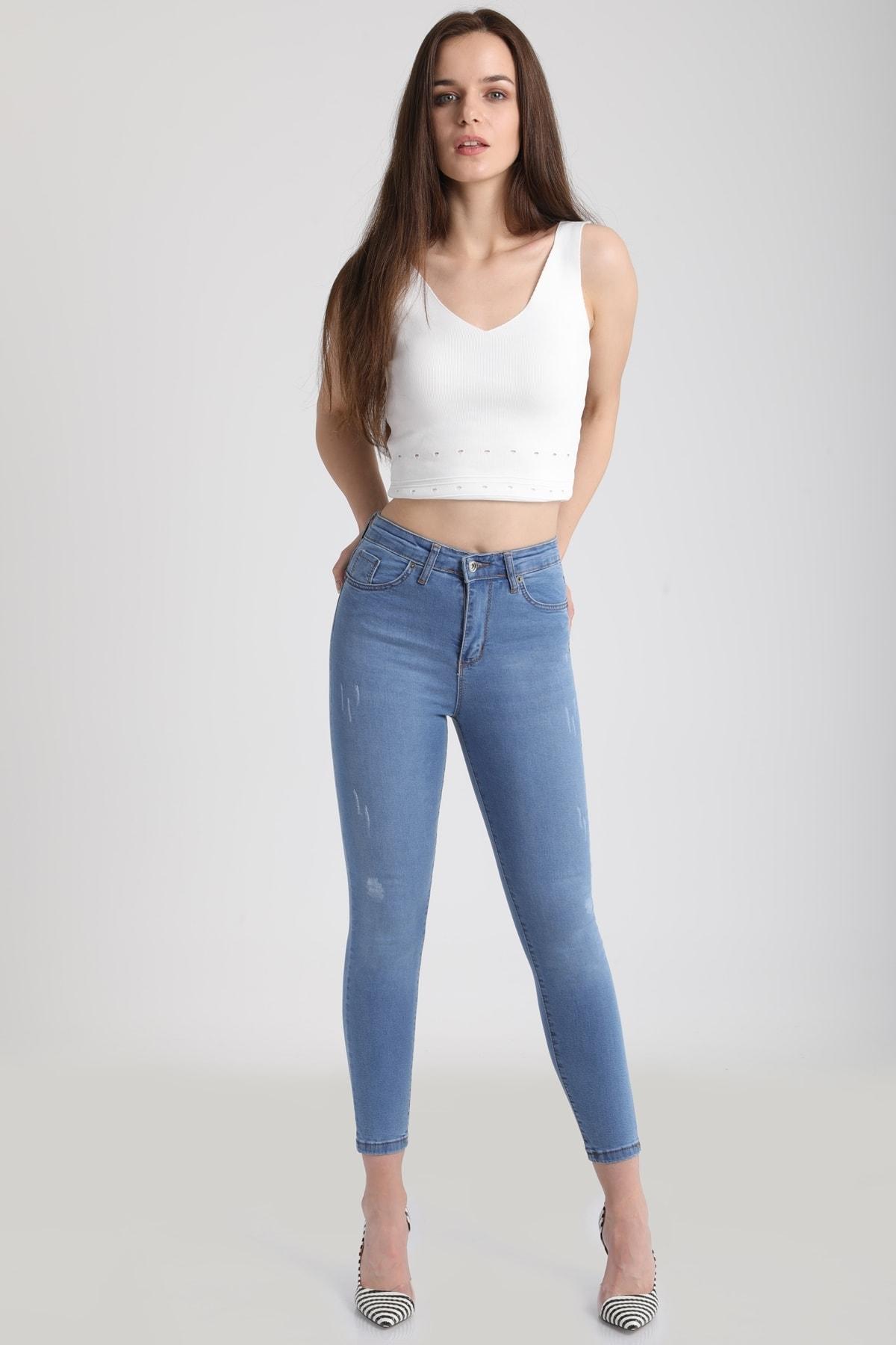 MD trend Kadın Buz Mavi Yüksek Bel Dar Paça Pantolon Jean Mdt3409 1