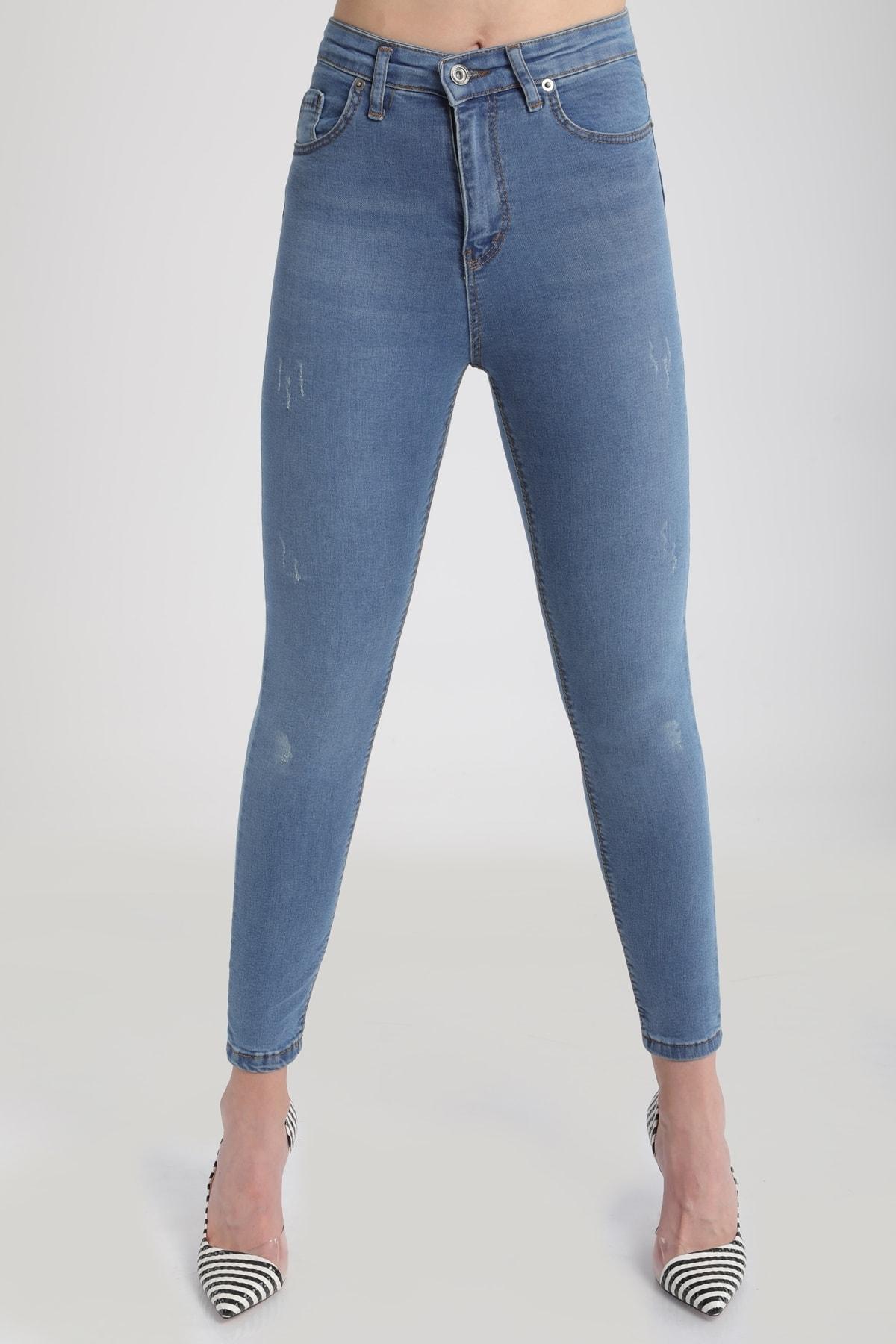 MD trend Kadın Buz Mavi Yüksek Bel Dar Paça Pantolon Jean Mdt3409 2
