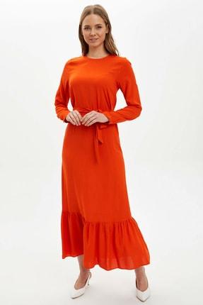 DeFacto Kadın Kırmızı Desenli Regular Fit Dokuma Elbise R3593AZ.20SP.RD97