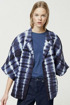 Yargıcı Kadın Mavi Desenli Batik Desenli Ceket 0YKCK5151X