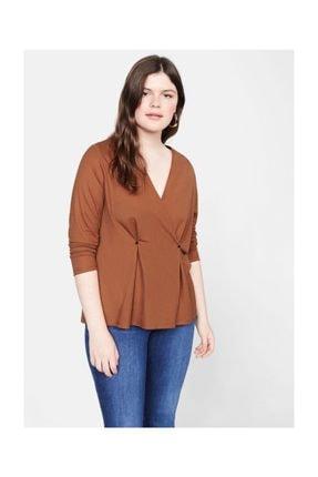 Violeta by MANGO Kadın Yanık Turuncu Düğmeli Anvelop Bluz 57025782