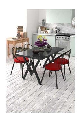 Evdemo Eylül 4 Kişilik Mutfak Masası Takımı Siyah Mermer Desen Kırmızı