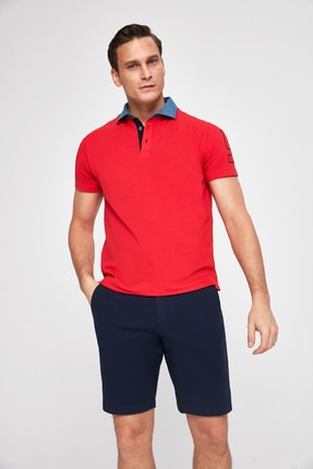 D'S Damat Kırmızı Renk Erkek  T-shirt (Slim Fit)