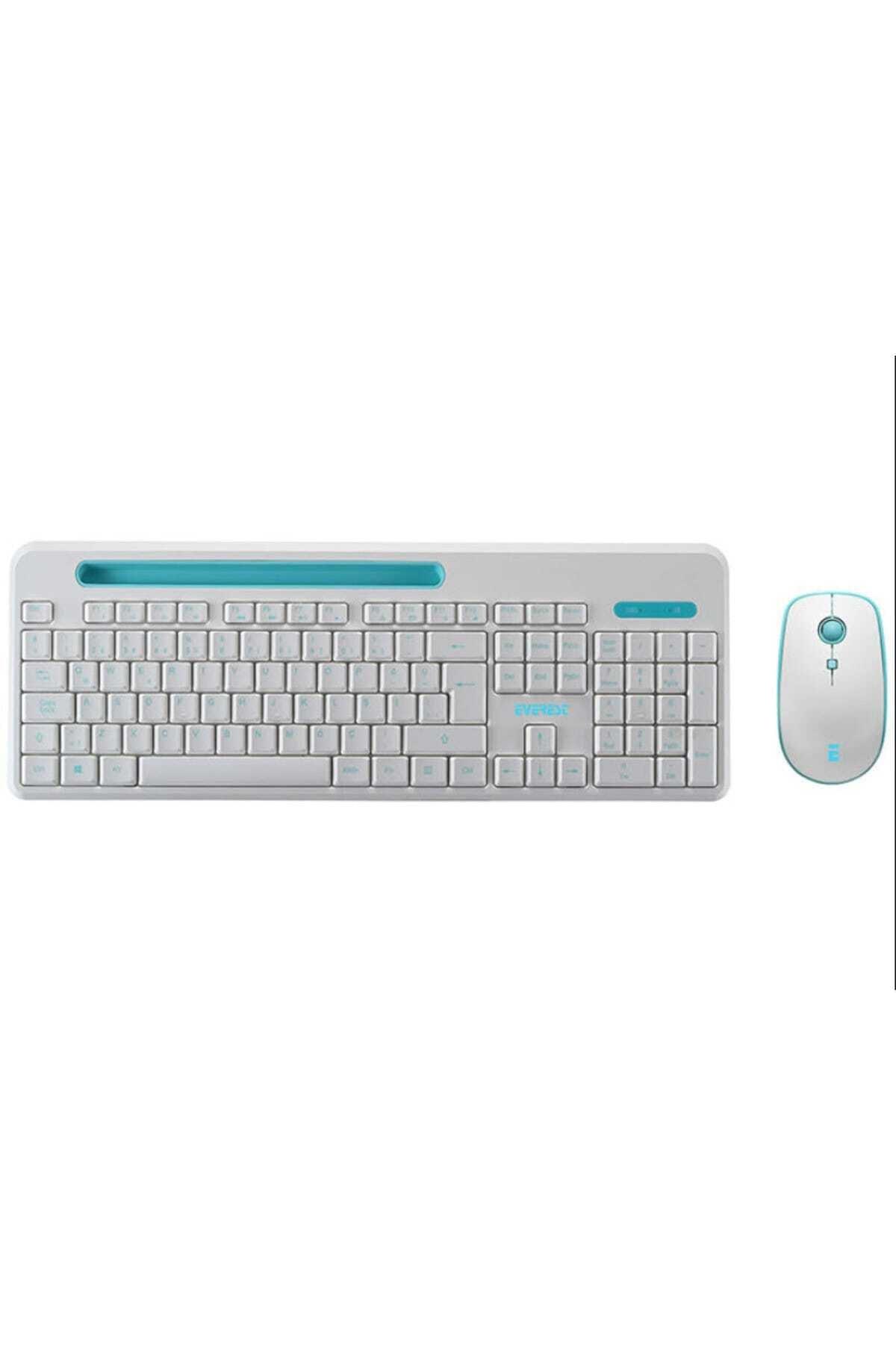 Everest ELITE KM-6388 Kablosuz Q Multimedia Klavye + Mouse Set Beyaz/Mavi 1