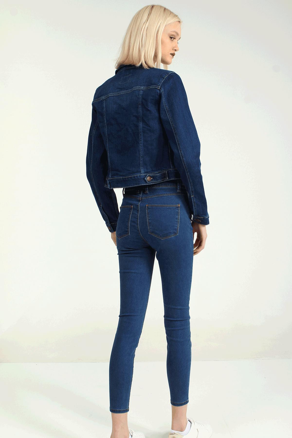 Collezione Kadın Koyu Mavi Regular Ceket 2