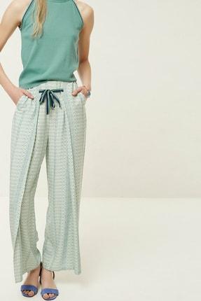 Yargıcı Kadın Lacivert Desenli Bağlama Detaylı Pantolon 0YKPN3106X