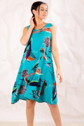 armonika Kadın Turkuaz Yaprak Desenli Kolsuz Eteği Fırfırlı Elbise ARM-20Y001008