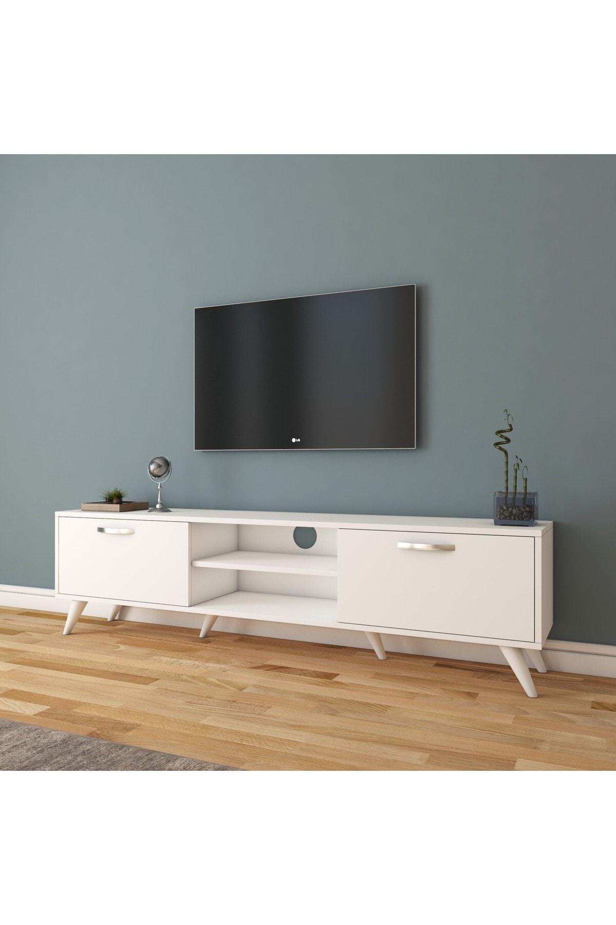 Rani Mobilya Rani A9 Tv Ünitesi Modern Ayaklı Tv Sehpası Beyaz