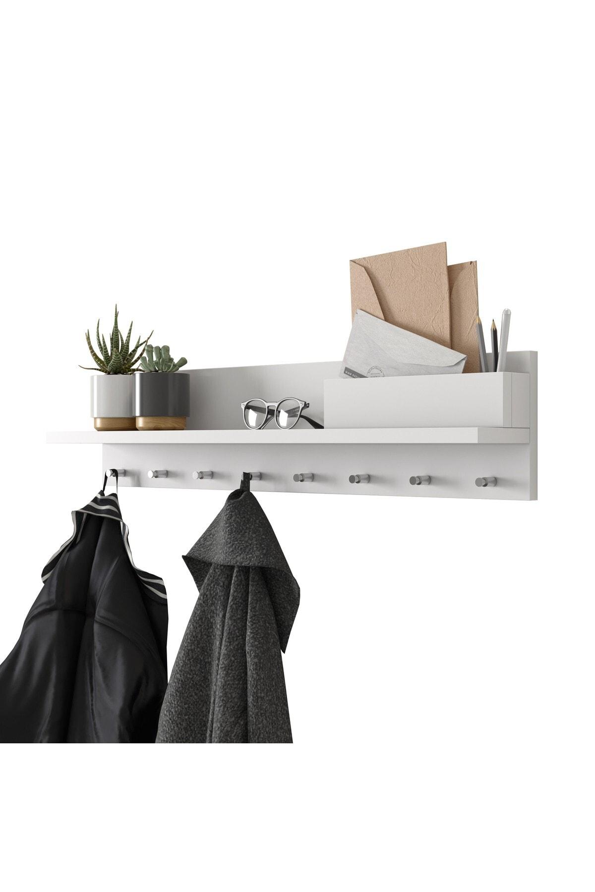 Rani Mobilya Rani P1 Modern Duvar Askısı Portmanto Askılık Beyaz Vestiyer M1