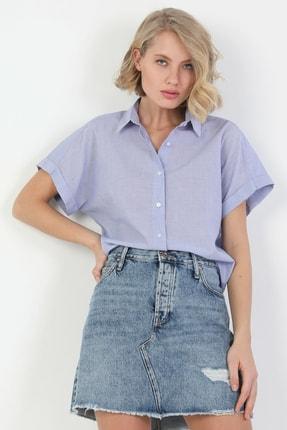 Colin's Regular Fit Shirt Neck Kadın Mavi Kısa Kol Gömlek