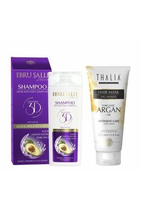 Thalia Ebru Şallı Avokado Özlü Hacim Verici Şampuan 300 Ml + Organik Argan Yağlı Saç Bakım Maskesi - 175 Ml