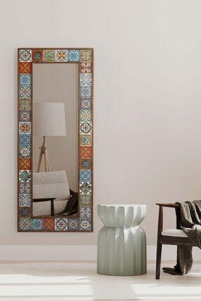 bluecape Doğal Ağaç Masif  Çerçeveli El Yapımı Çini Seramik Salon Ofis Mutfak Duvar Konsol Boy Ayna 62x149 Cm