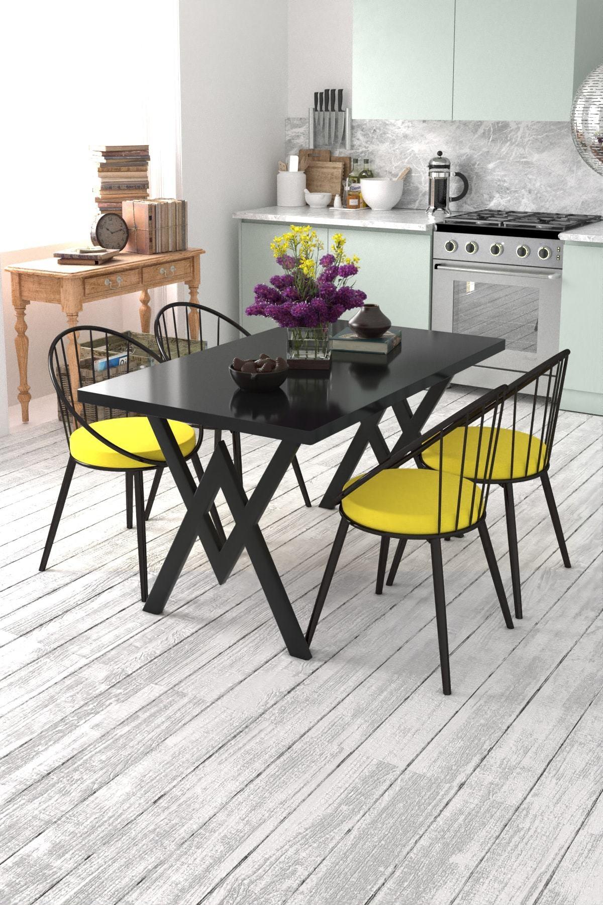 Evdemo Eylül 4 Kişilik Mutfak Masası Takımı Siyah Sarı 1