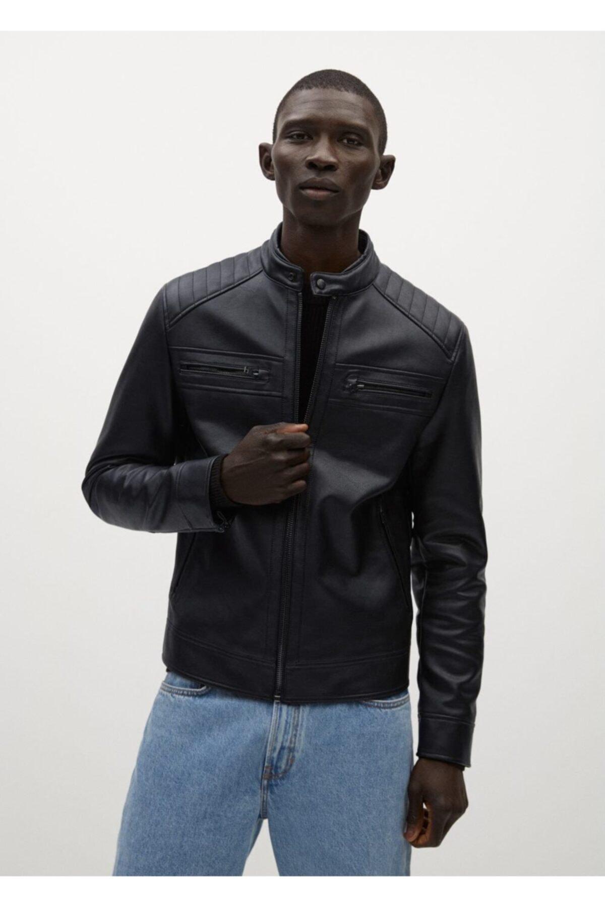 MANGO Man Erkek Siyah Suni Deri Biker Ceket 1
