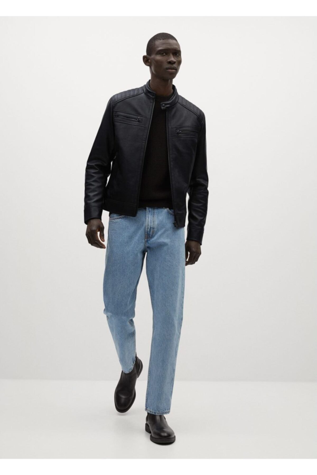 MANGO Man Erkek Siyah Suni Deri Biker Ceket 2