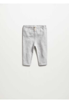 MANGO Baby Unisex Bebek Gri Pamuklu Pantolon