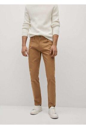 MANGO Man Erkek Kahverengi Dar Kesim Denim Görünümlü Serj Pantolon