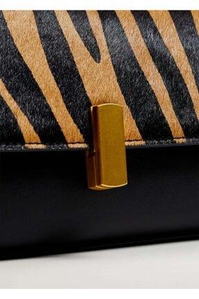 MANGO Woman Kadın Kahverengi Desenli Deri Baguette Çanta
