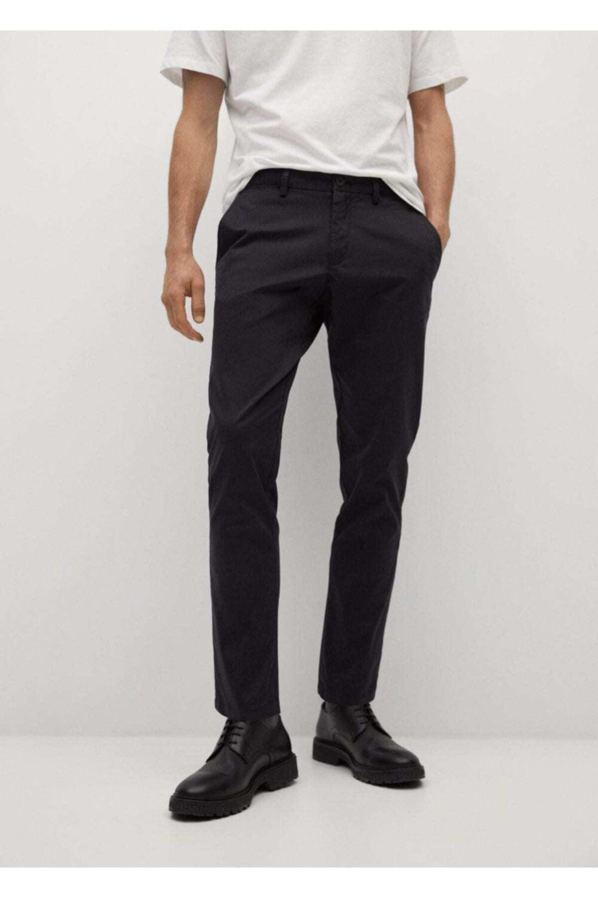 MANGO Man Erkek Siyah Daralan Kısa Paçalı Chino Pantolon 1