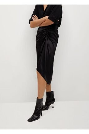 MANGO Woman Kadın Siyah Drapeli Saten Etek