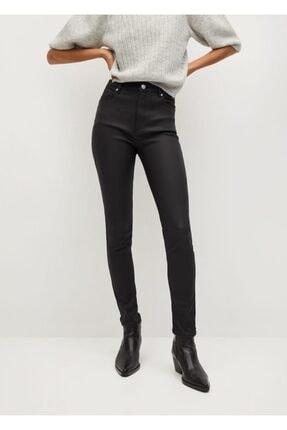 MANGO Woman Deri Görünümlü Yüksek Bel Noa Jean Pantolon