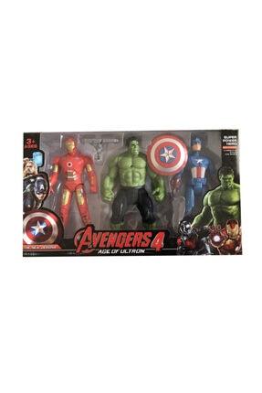 AVENGERS 4 Büyük Figür Seti 3 Lü Hulk Captain America Ironman