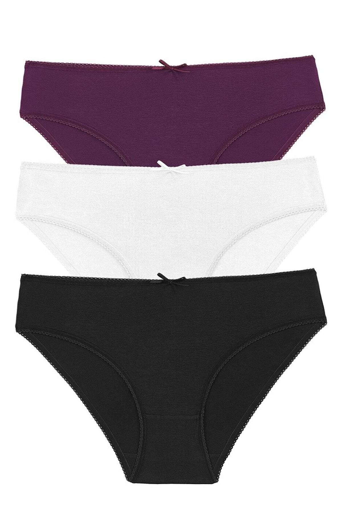 SUWEN Kadın Blck/Ecr/Purple 3 Lü Renkli Külot 1