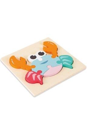 MAYA BABY Montessori Ahşap Eğitici Üç Boyutlu 3d Yengeç Puzzle