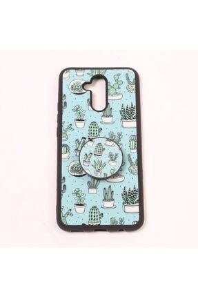 Merwish Huawei Mate 20 Lite Trend Desenli Pops El Ve Telefon Tutuculu Silikon Kılıf Yeşil Kaktüs