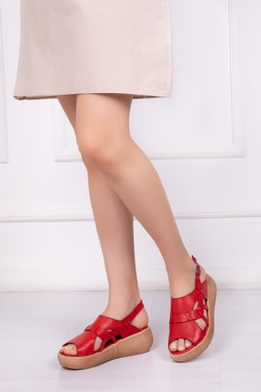 Deripabuc Hakiki Deri Kırmızı Kadın Deri Sandalet Dp-20670