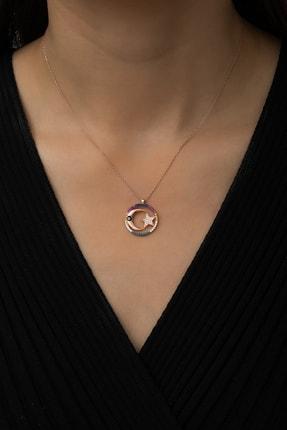 Papatya Silver Renkli Taşlı Nazar Gözlü Ay Yıldız Bayrak Kolye Rose Gold Kaplama 925 Ayar Gümüş, Uvps100490