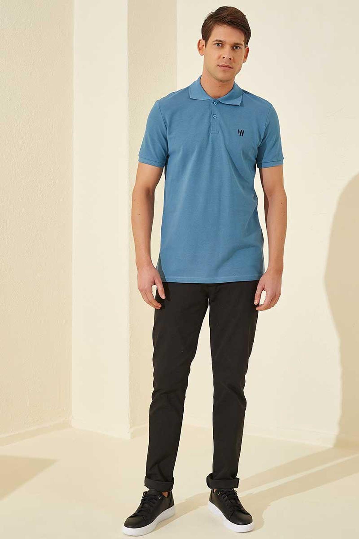 Tommy Life Klasik Polo Yaka Kirli Mavi Erkek Tshirt T08ER-87768 1