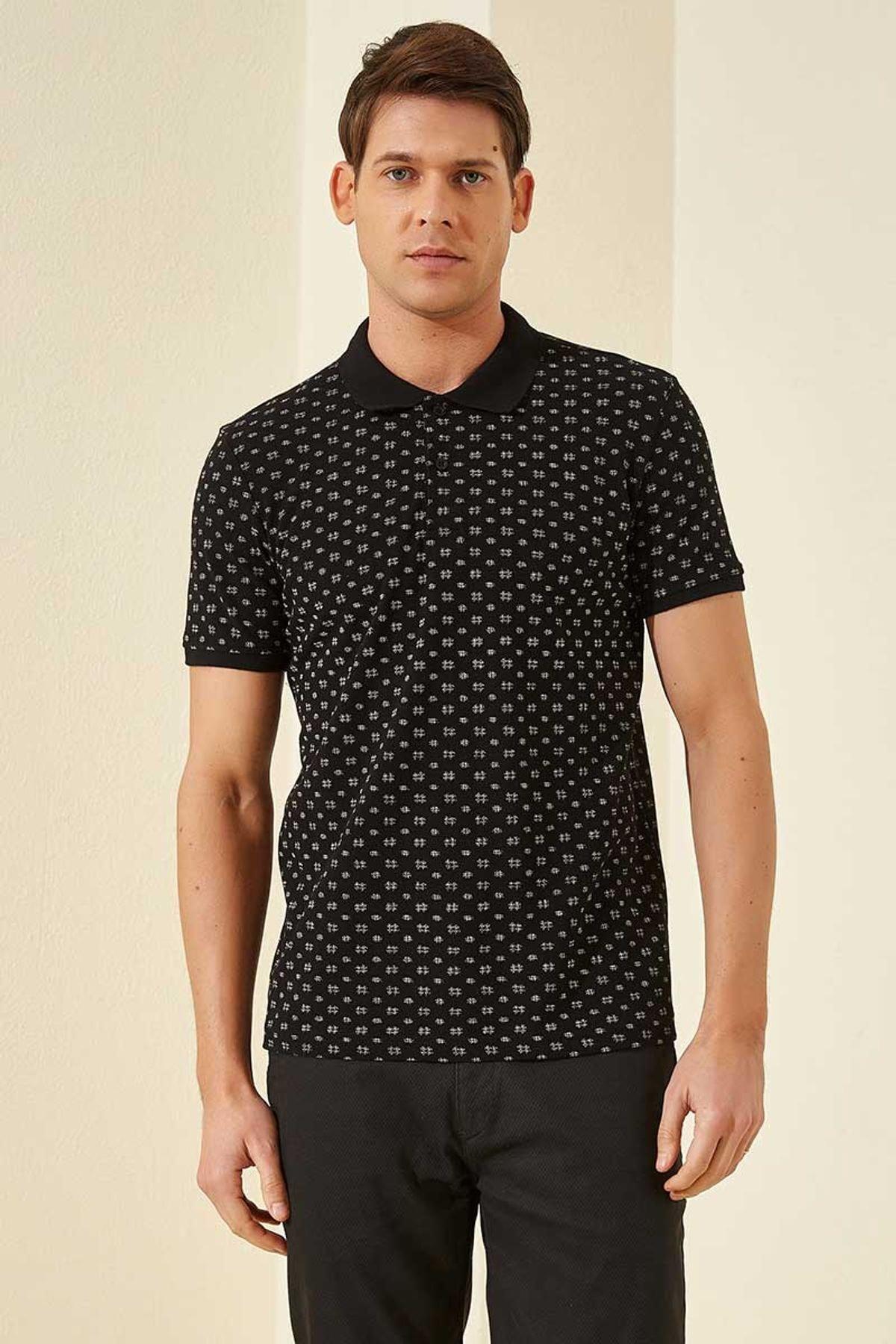 Tommy Life Klasik Desenli Polo Yaka Siyah-Beyaz Erkek Tshirt T08ER-87795_1 2