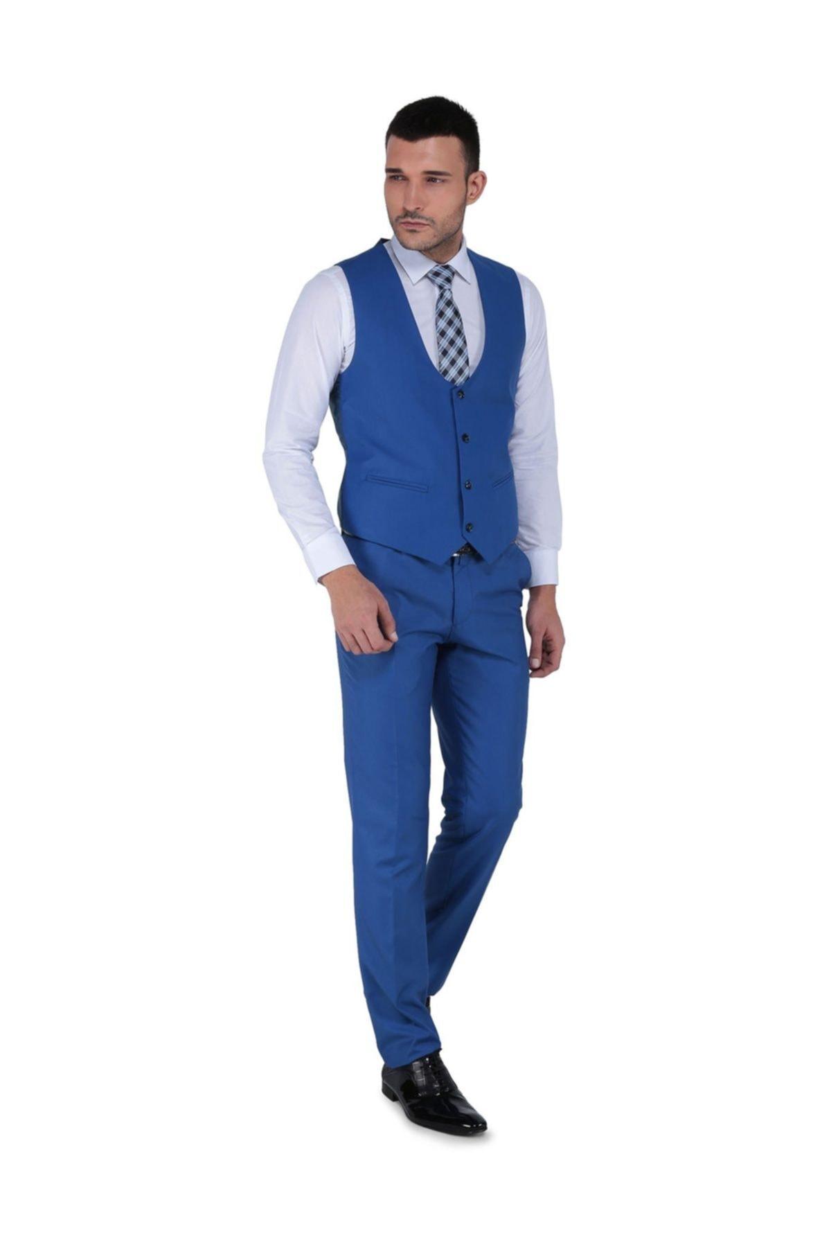 Buenza Erkek Akf Mono Yelekli Dar Kalıp Takım Elbise 2